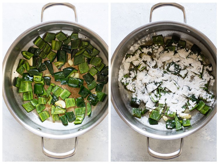 photo collage showing peppers cooking in pan and flour sprinkled in pan