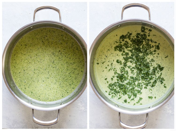 photo collage showing pureed sauce and cilantro being added to the sauce