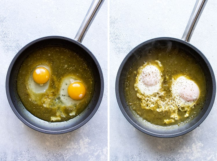 photo collage showing eggs cooking in a skillet with salsa verde