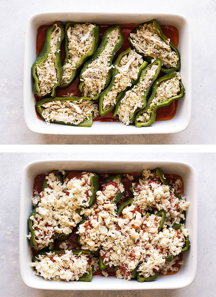 photo collage showing peppers stuffed with filling and topped with cheese and sauce