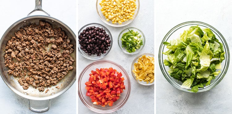 photo collage of cooked ground beef, salad ingredients in bowls, and romaine lettuce