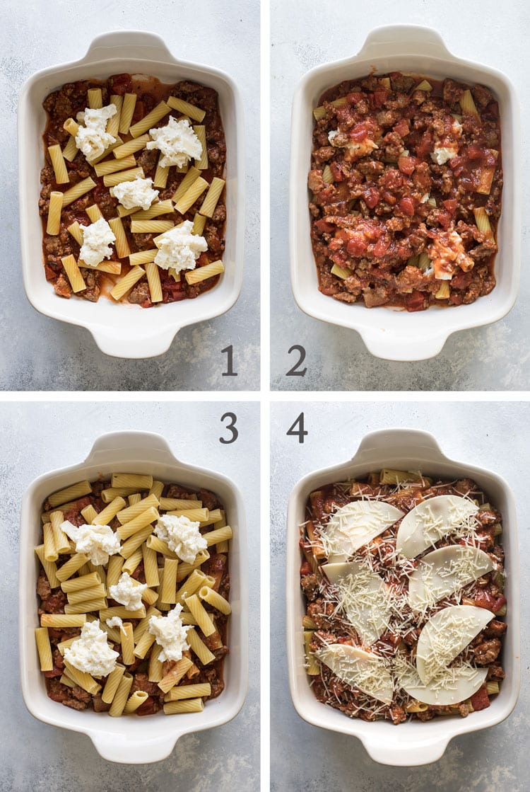 photo collage showing how to layer the pasta, sauce and cheese in the baking dish