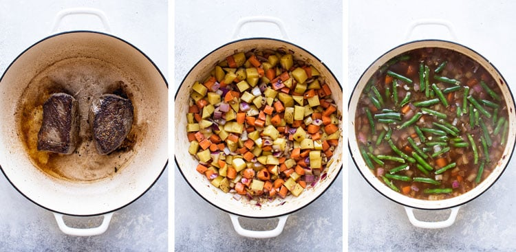 photo collage showing seared beef, vegetables in pot, and soup in the pot