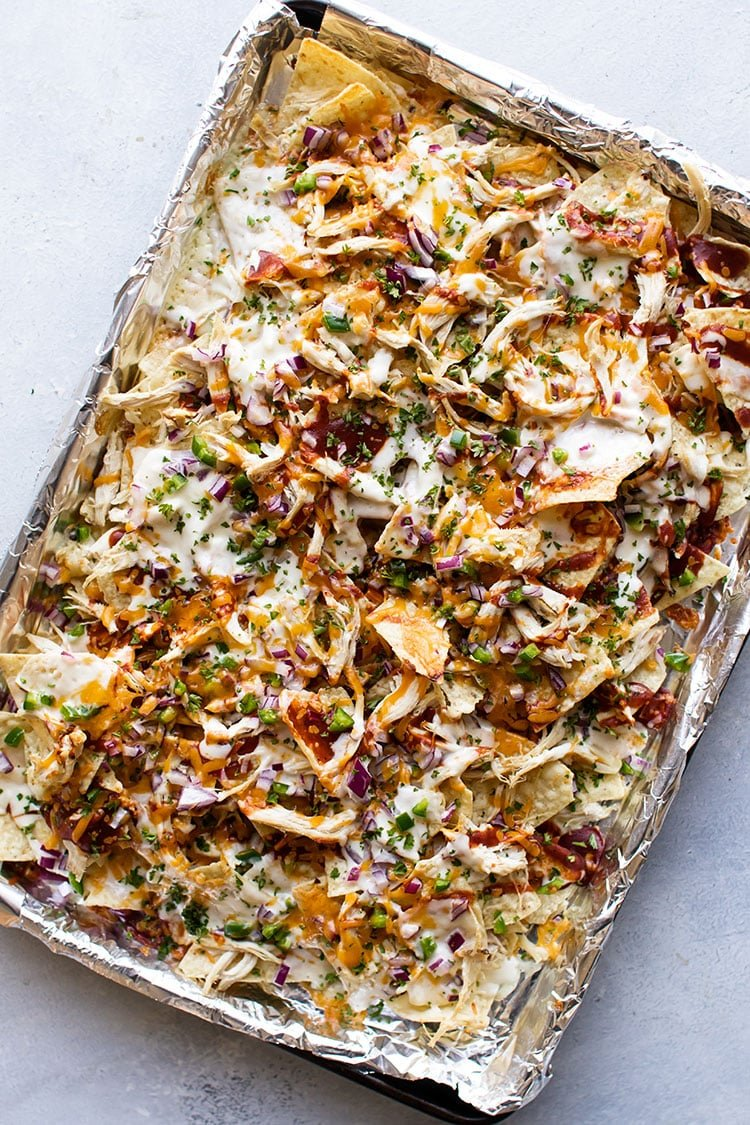 overhead photo of chicken sheet pan nachos