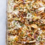 overhead photo of sheetpan nachos