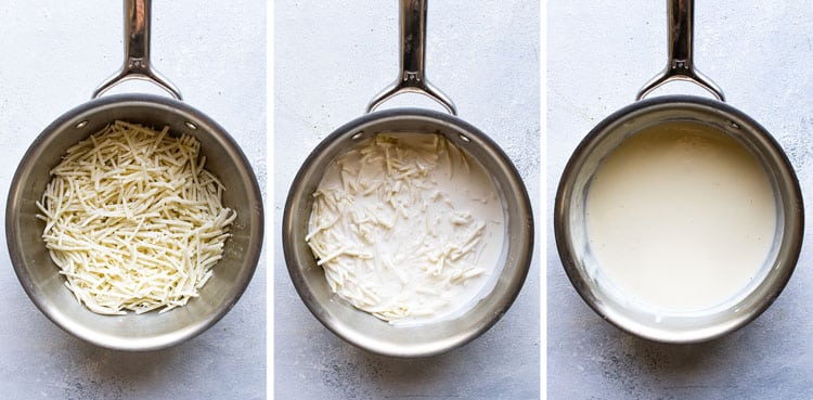 photo collage showing steps for making cheese sauce
