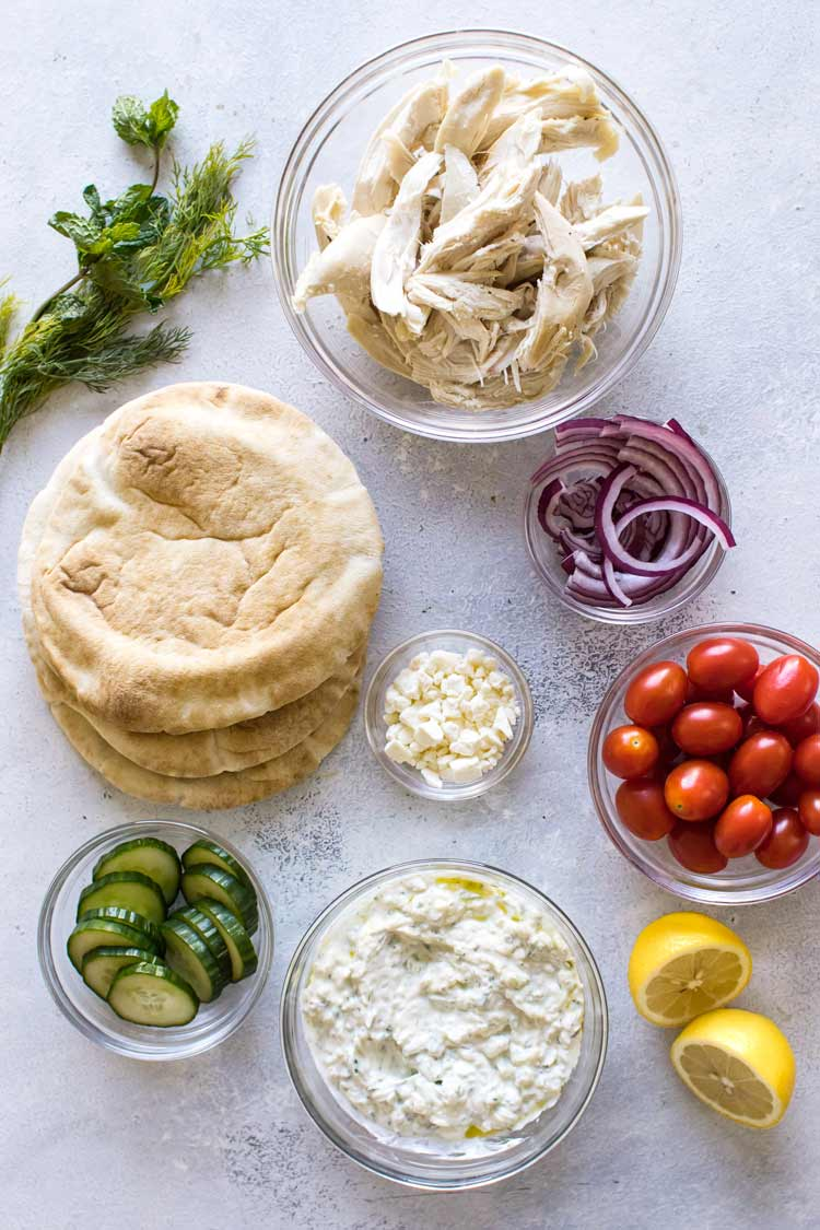 overhead photo of the ingredients for chicken gyros
