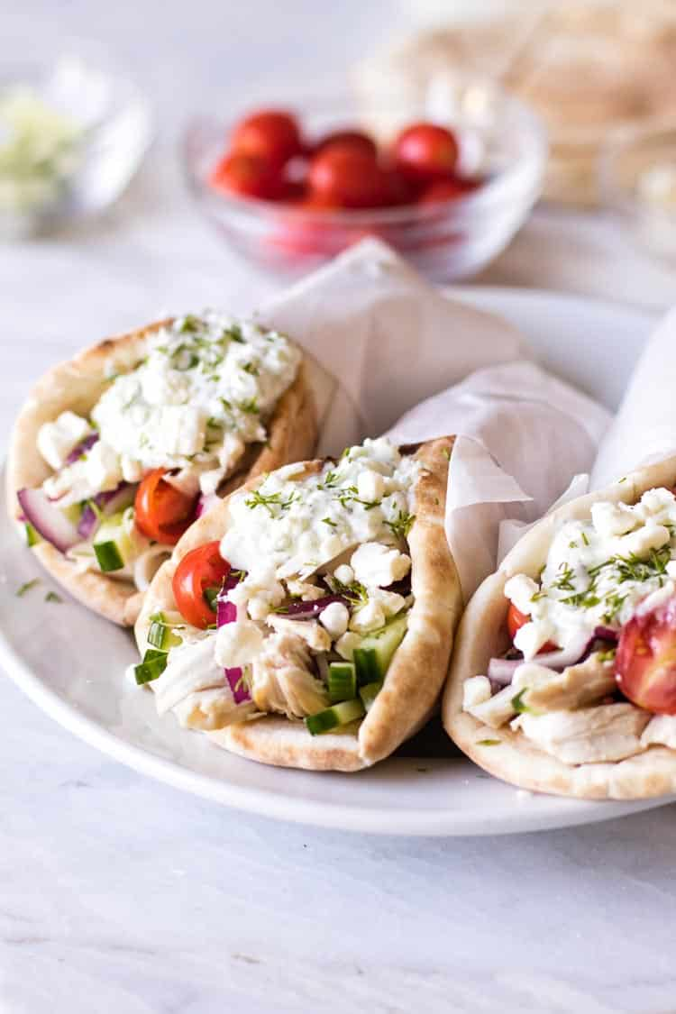photo of chicken gyros wrapped in parchment