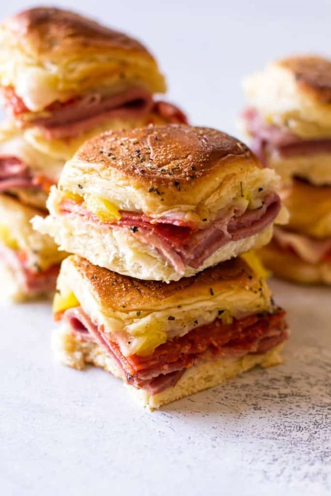 close-up photo of a stack of two italian sliders