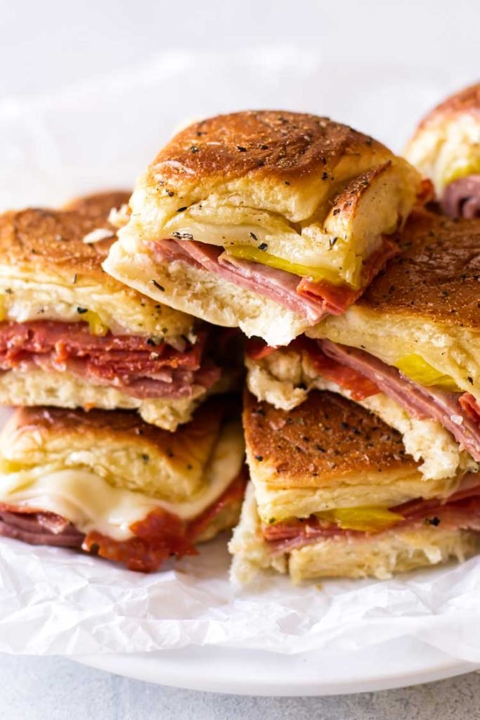 close-up photo of a stack of sandwiches