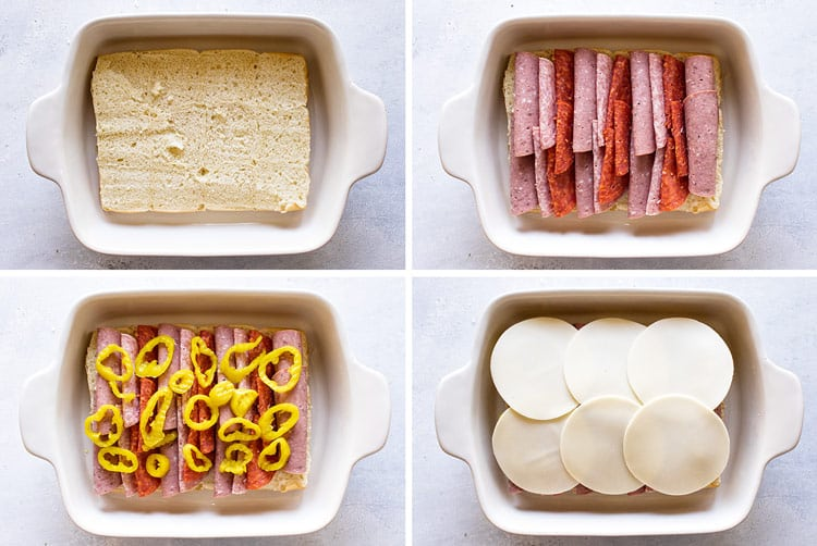 photo collage showing how to assemble the sandwiches