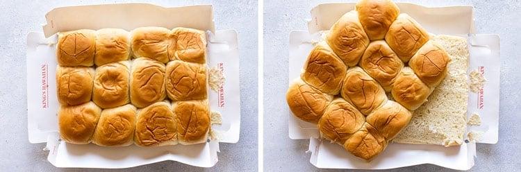 photo collage of sliced hawaiian rolls