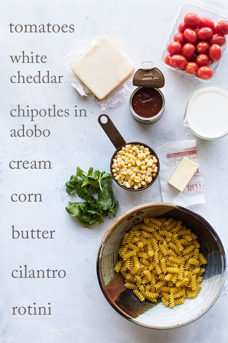 overhead photo of the ingredients for southwest chicken pasta