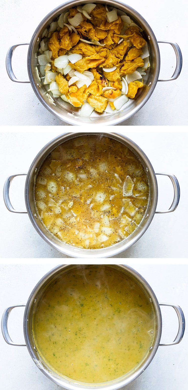 photo collage of three steps to make the soup