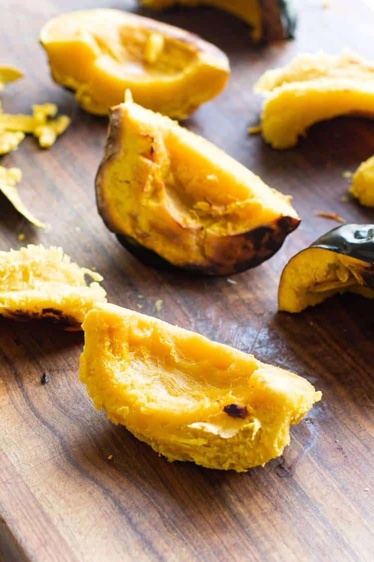 photo of peeled roasted acorn squash