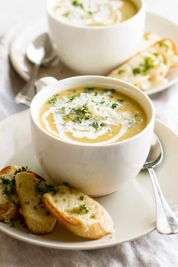a bowl of acorn squash soup