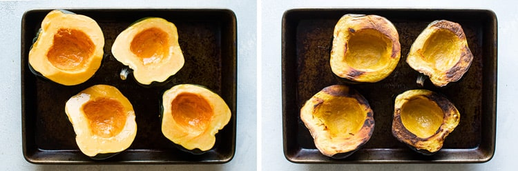 photo collage showing squash brushed with oil and roasted squash