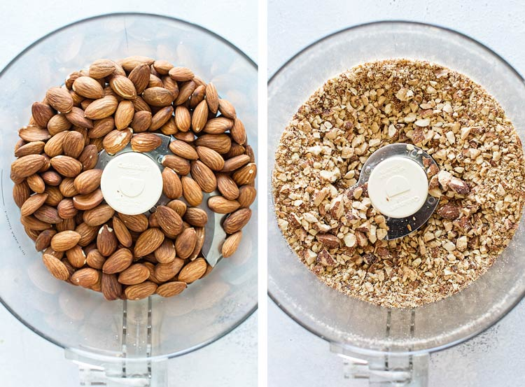 photo collage of whole almonds in the food processor and after they are processed