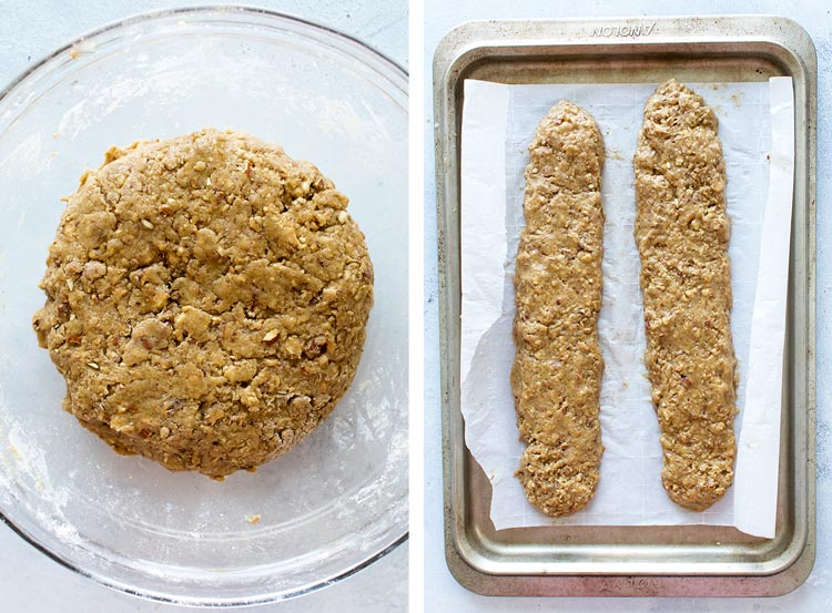 photo collage of the dough in a bowl and the dough formed into logs