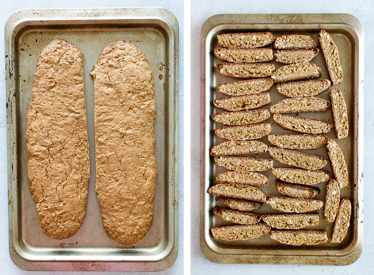 photo collage of the baked logs and the sliced biscotti on the baking sheet