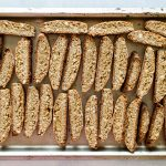 photo of biscotti on a baking sheet
