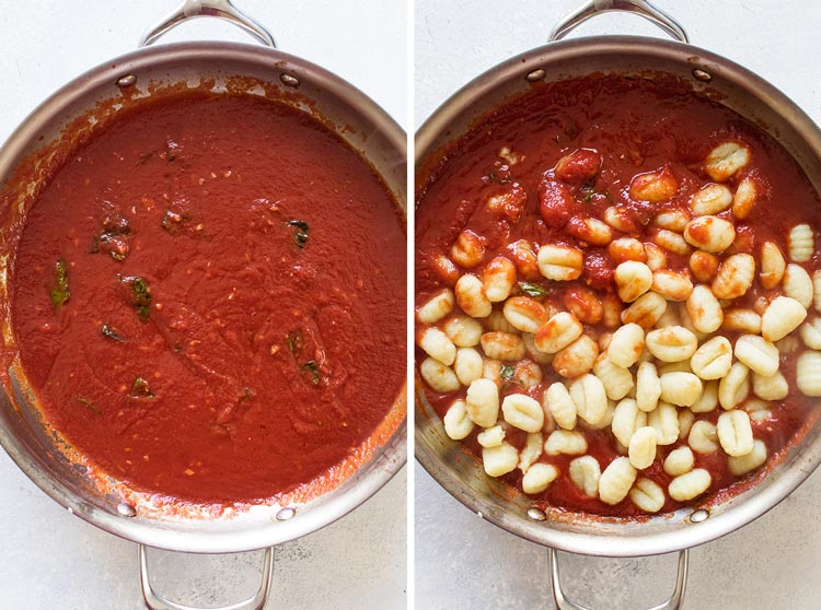 photo collage of the sauce and the gnocchi being added