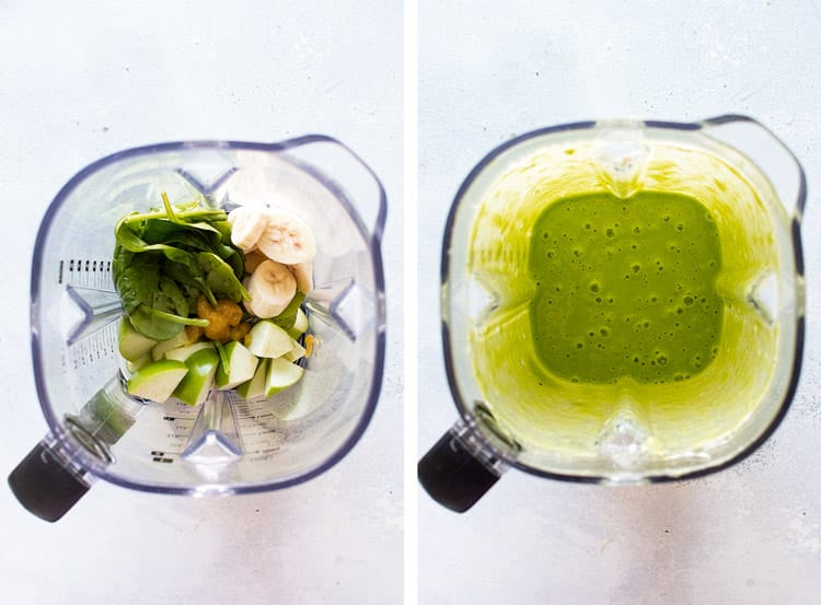 photo collage of the ingredients in the blender and after they are pureed