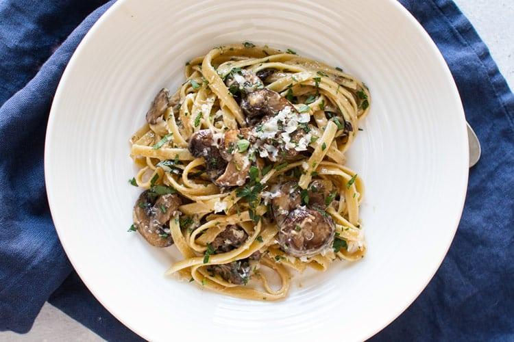 overhead photo of truffle pasta with mushroms