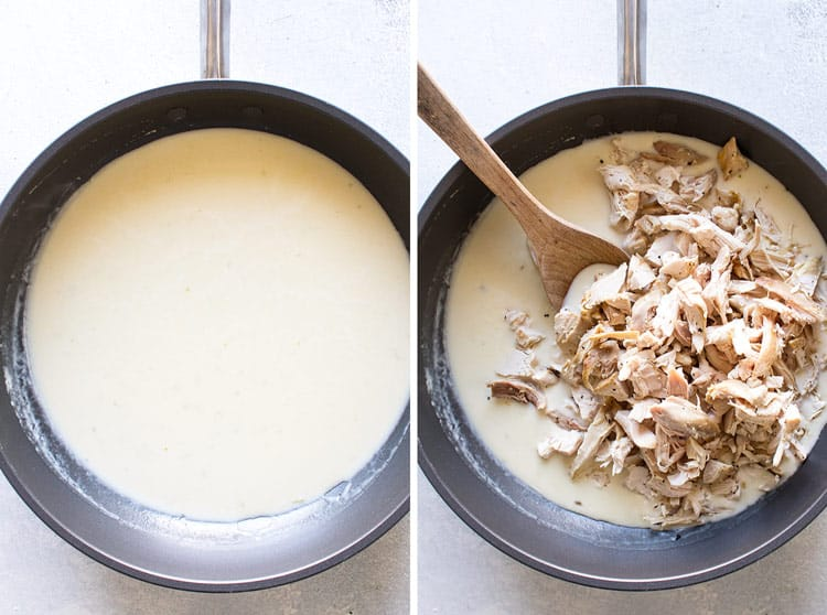 photo collage showing the sauce in a pan and the chicken being added to it