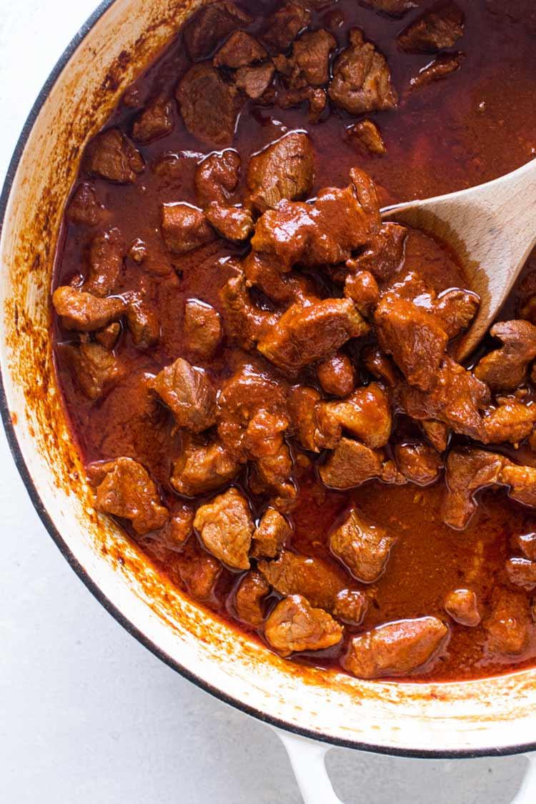 overhead photo of a pan of pork chili