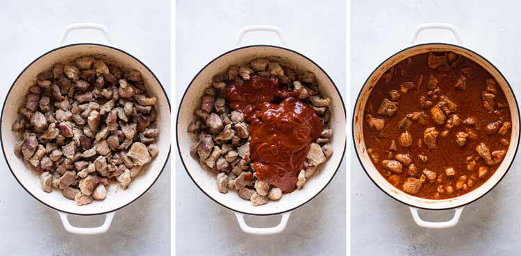 photo collage of pork, sauce and the chili in a pan