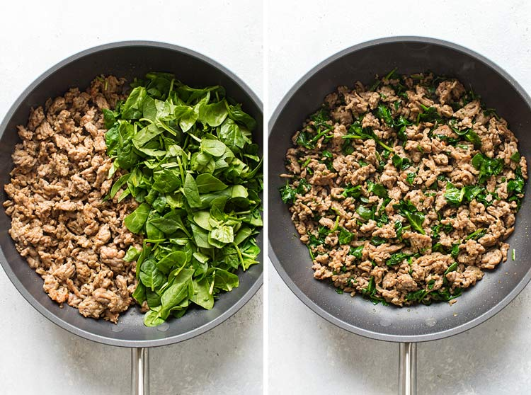 photo collage showing how to cook the spinach and sausage