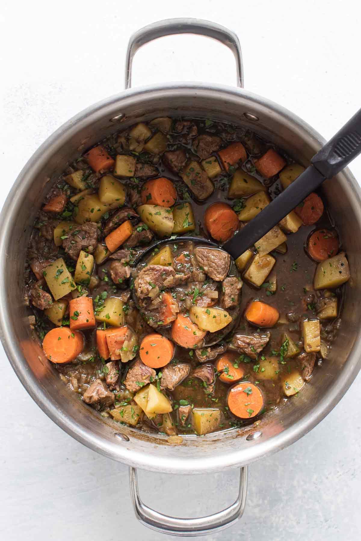 overhead photo of a pot o stew