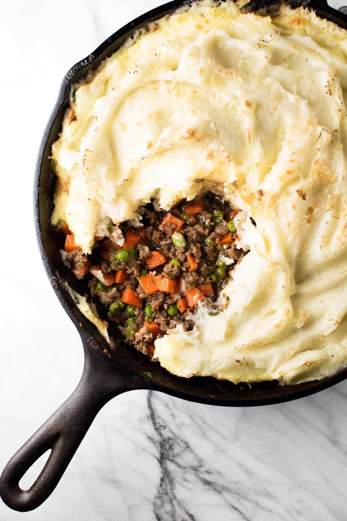 overhead photo of shepherd's pie in a skillet