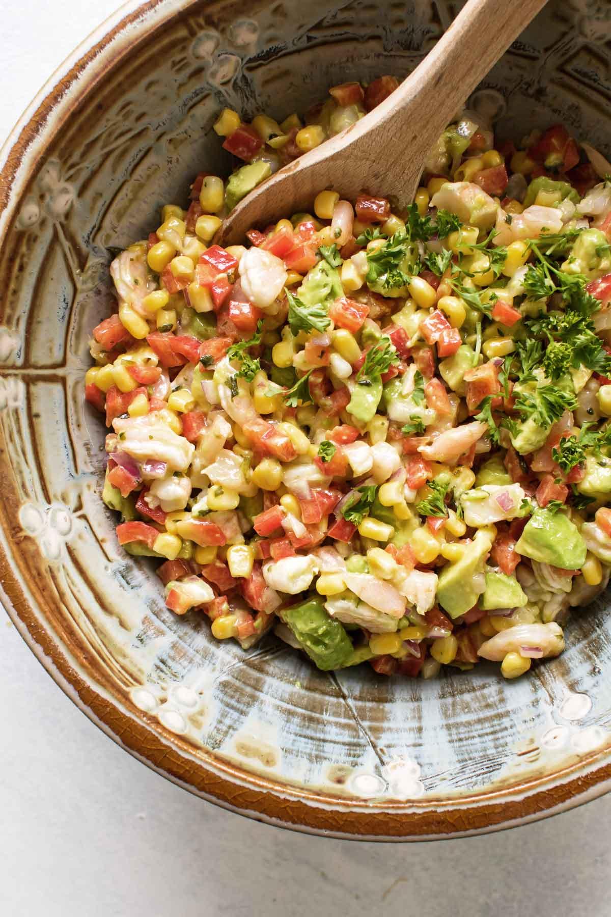 overhead photo of a bowl of shrimp salad