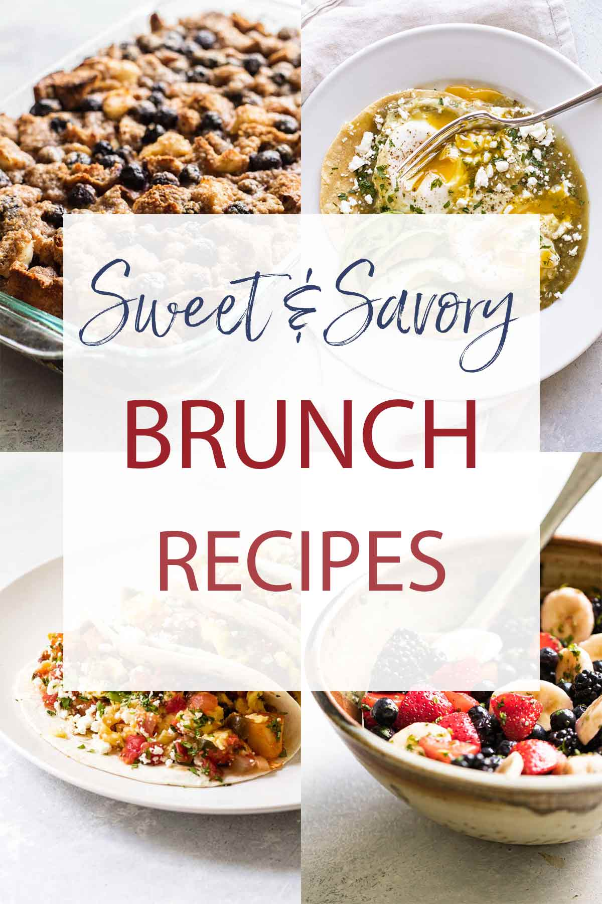 photo collage of brunch recipes