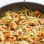 photo of shrimp pasta with text