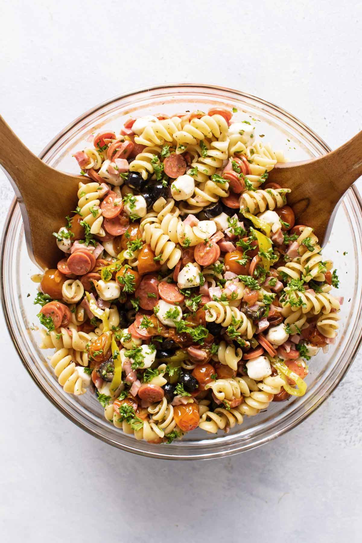 overhead photo of italian pasta salad