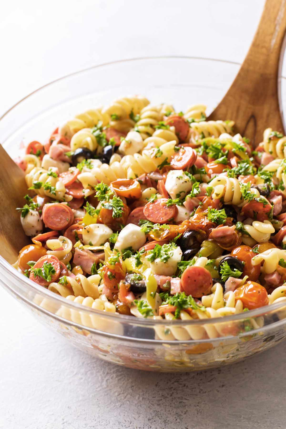 close-up photo of pasta salad in a bowl