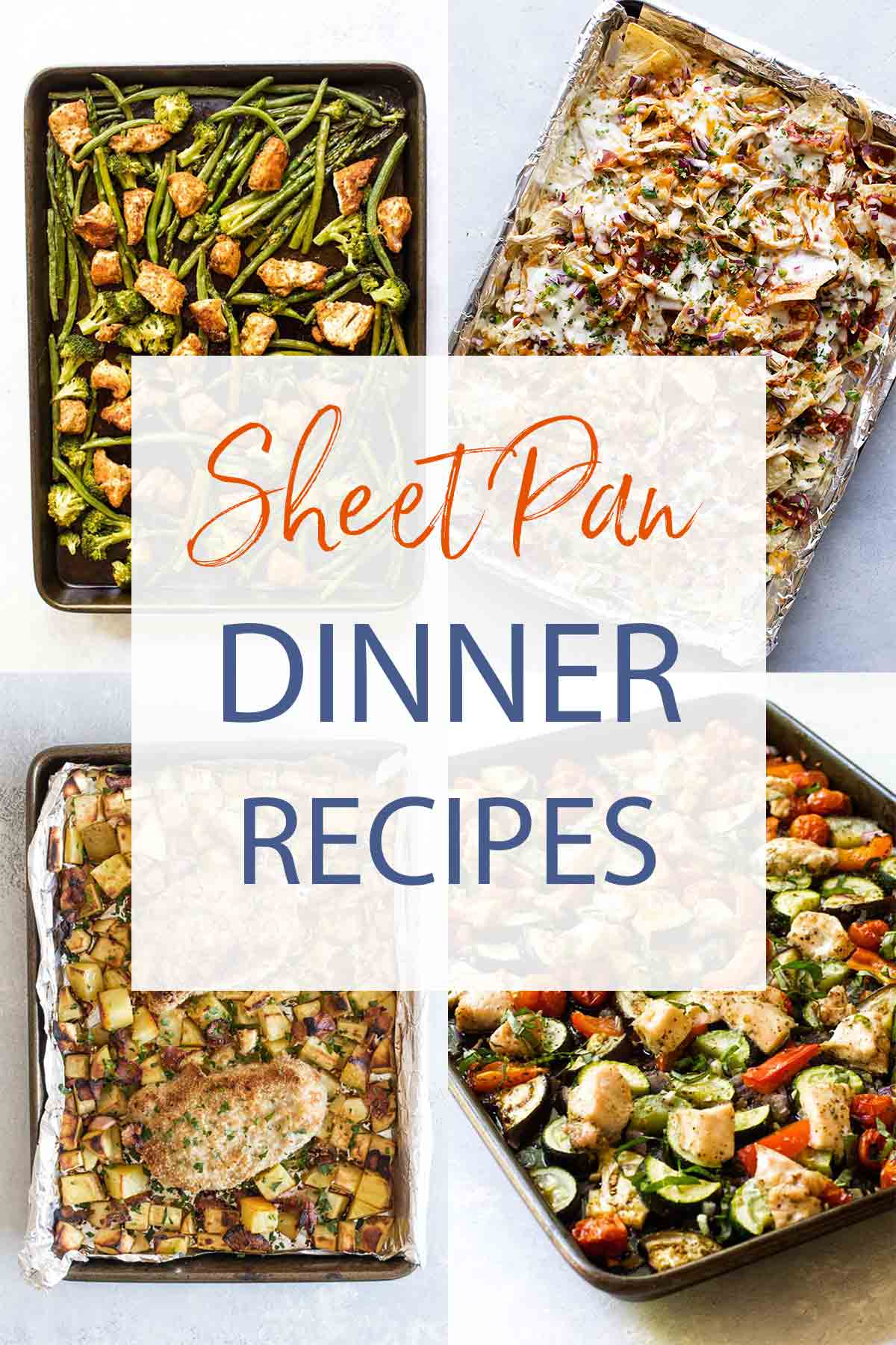 photo collage of different sheet pan dinners with text overlay