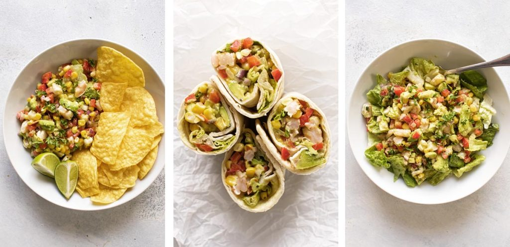 photo collage of different ways to serve the salad