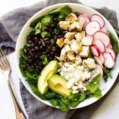 Chicken & Black Bean Spinach Salad