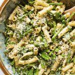 close-up overhead photo of pasta salad