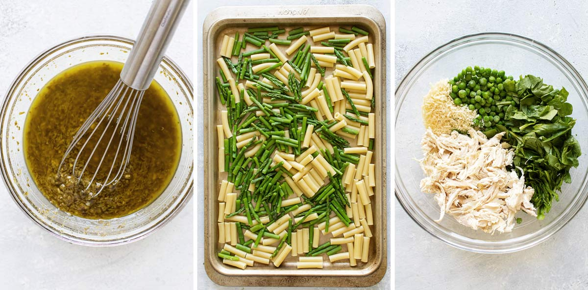 photo collage showing the dressing, the cooked pasta and asparagus and the rest of the ingredients