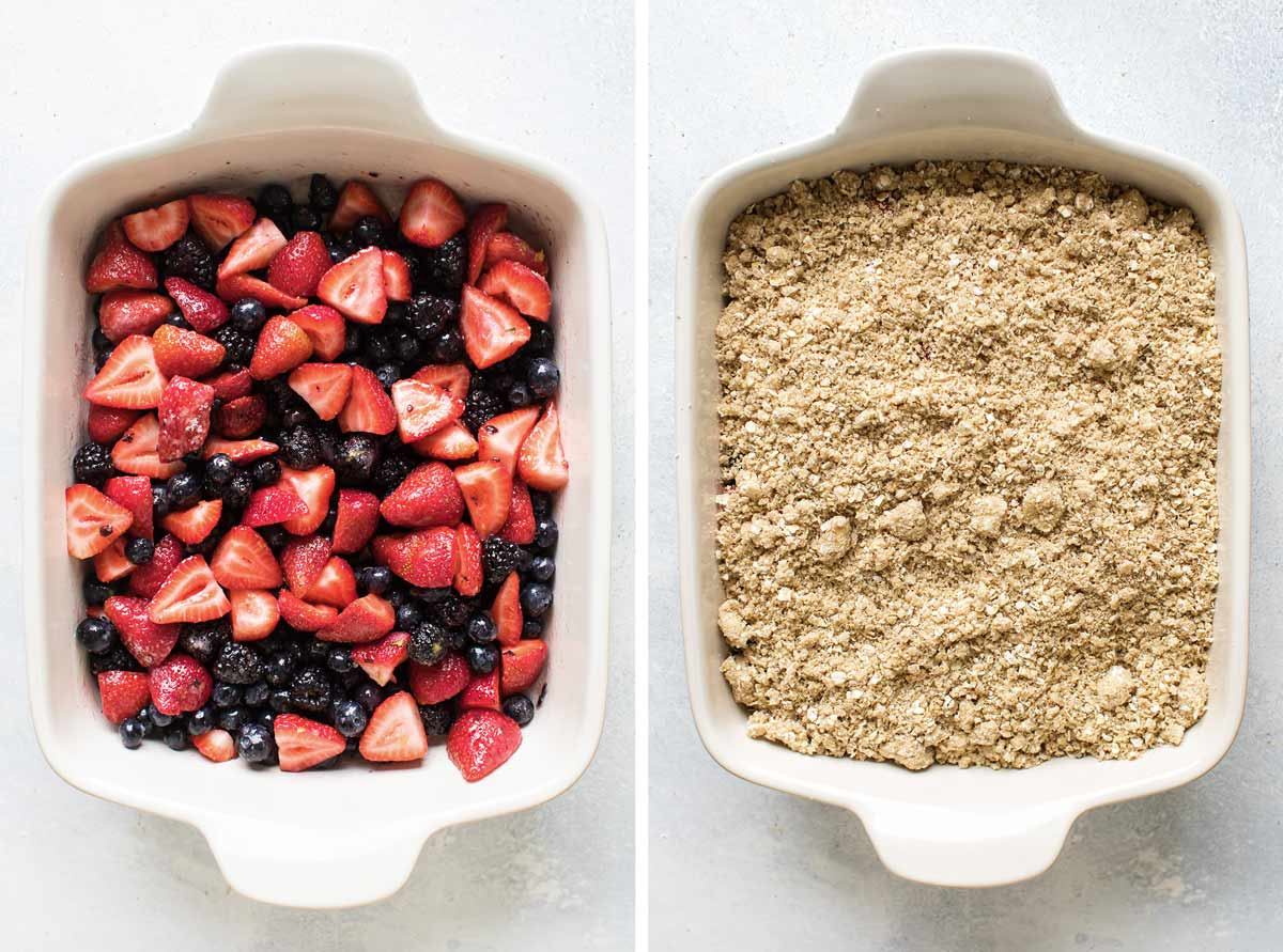 photo collage showing fruit in baking dish and with the topping