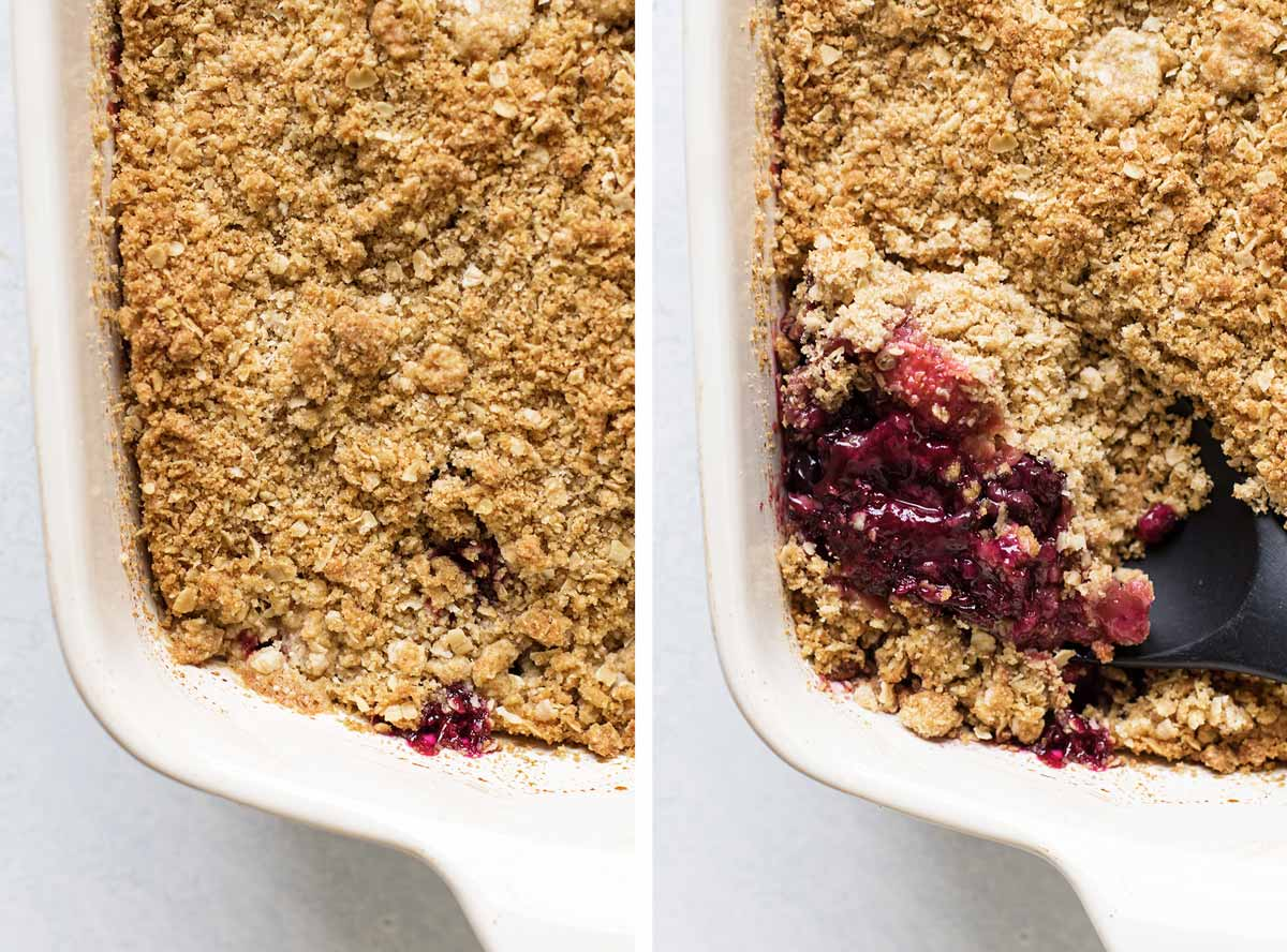 photo collage of baked crumble and a spoon scooping some out of the pan