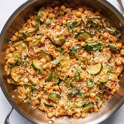 Zucchini Orzo with Chickpeas
