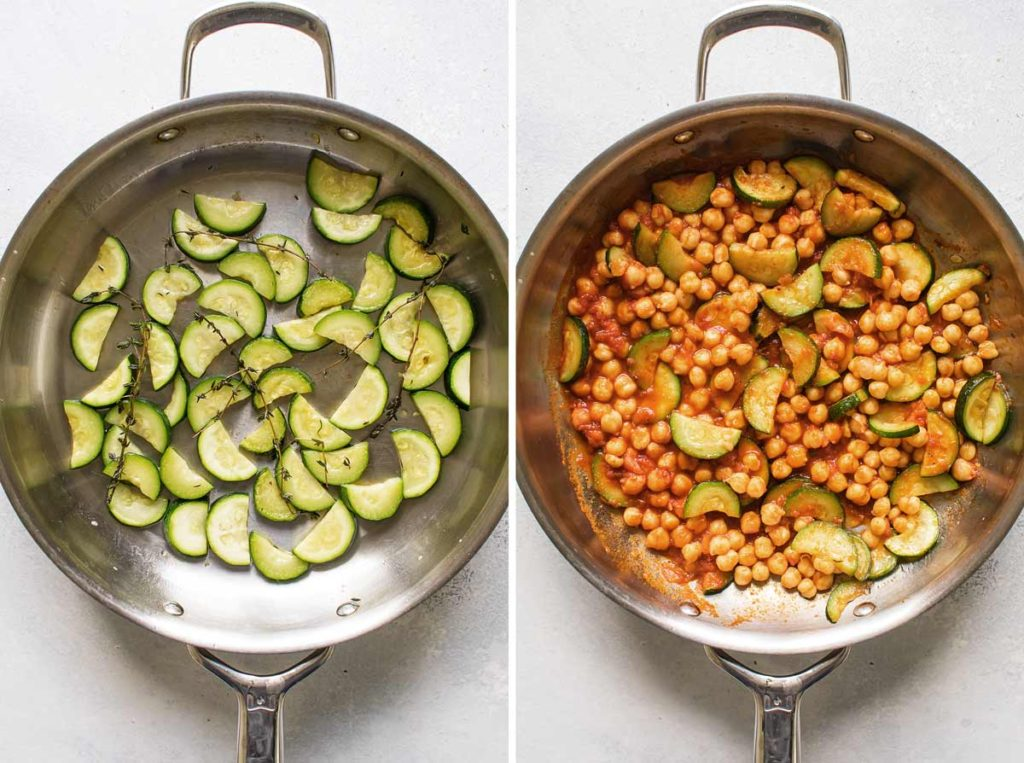 photo showing the cooked zucchini in a skillet and the sauce and chickpeas added to the pan