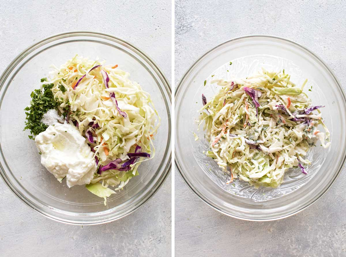 photo collage showing the slaw ingredients in a bowl and mixed up together.