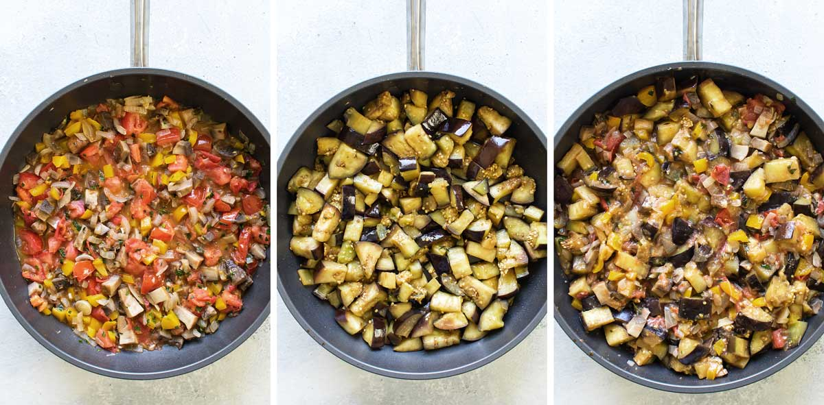 photo collage showing recipe steps for cooking the vegetables